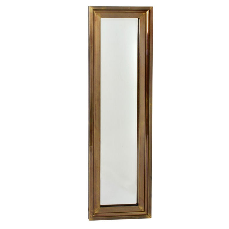 Tall thin brass frame entry mirror by mastercraft for sale for Standing mirror frame