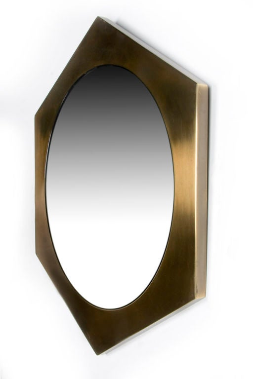 hexagonal brass frame mirror by mastercraft 2