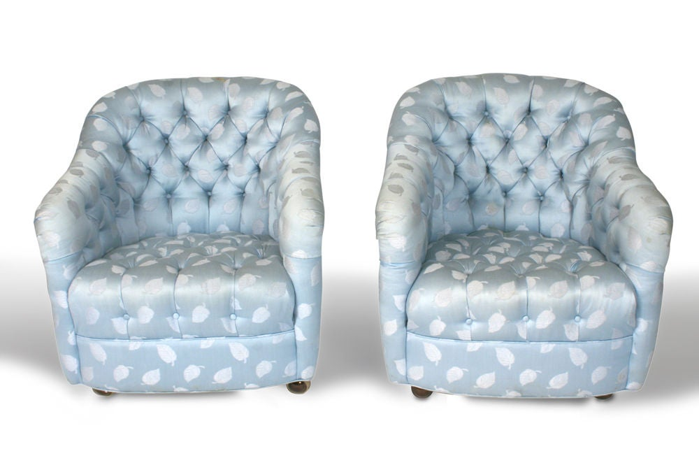 American Pair of Button Tufted Barrel Chairs on Casters by Ward Bennett For Sale