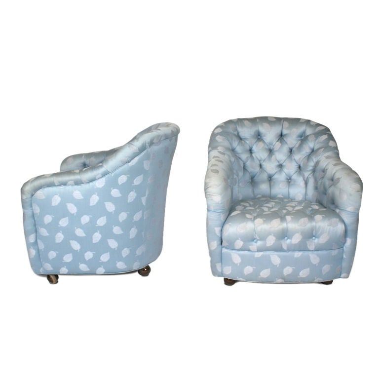 pair of button tufted barrel chairs on casters by ward bennett 1 - Barrel Chairs