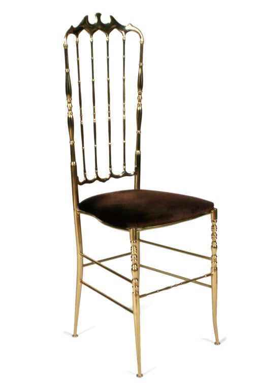 Italian Pair of Brass High Back Side Chairs by Chiavari For Sale