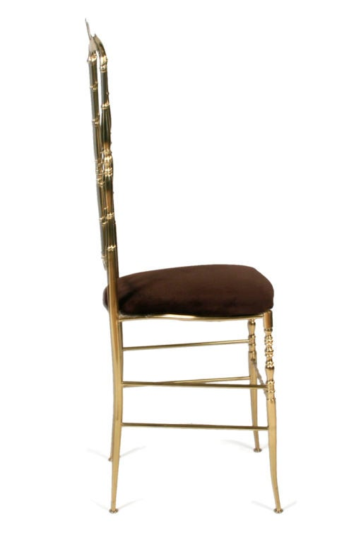 Pair of Brass High Back Side Chairs by Chiavari In Excellent Condition For Sale In New York, NY
