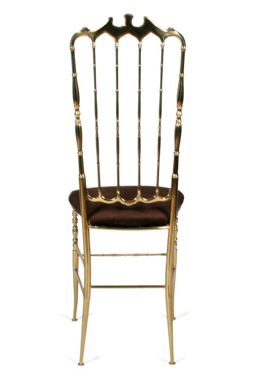 Mid-20th Century Pair of Brass High Back Side Chairs by Chiavari For Sale