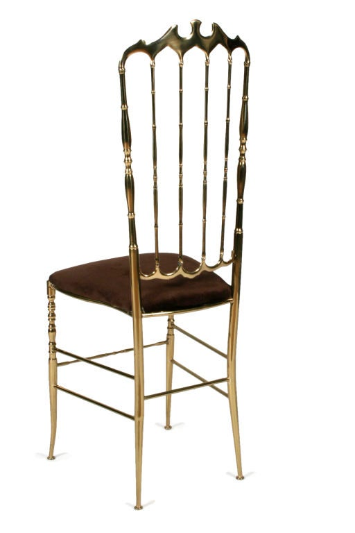 Pair of Brass High Back Side Chairs by Chiavari For Sale 1