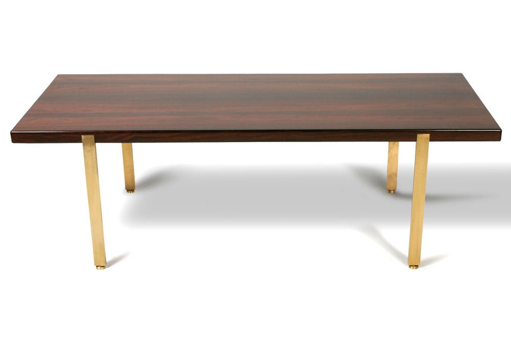 Reductive Rosewood and Brass Cocktail Table by Harvey Probber 2