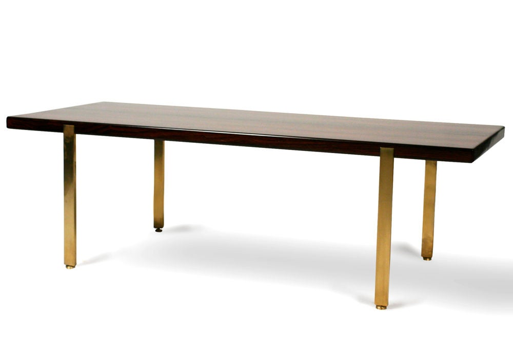 Reductive Rosewood and Brass Cocktail Table by Harvey Probber 3