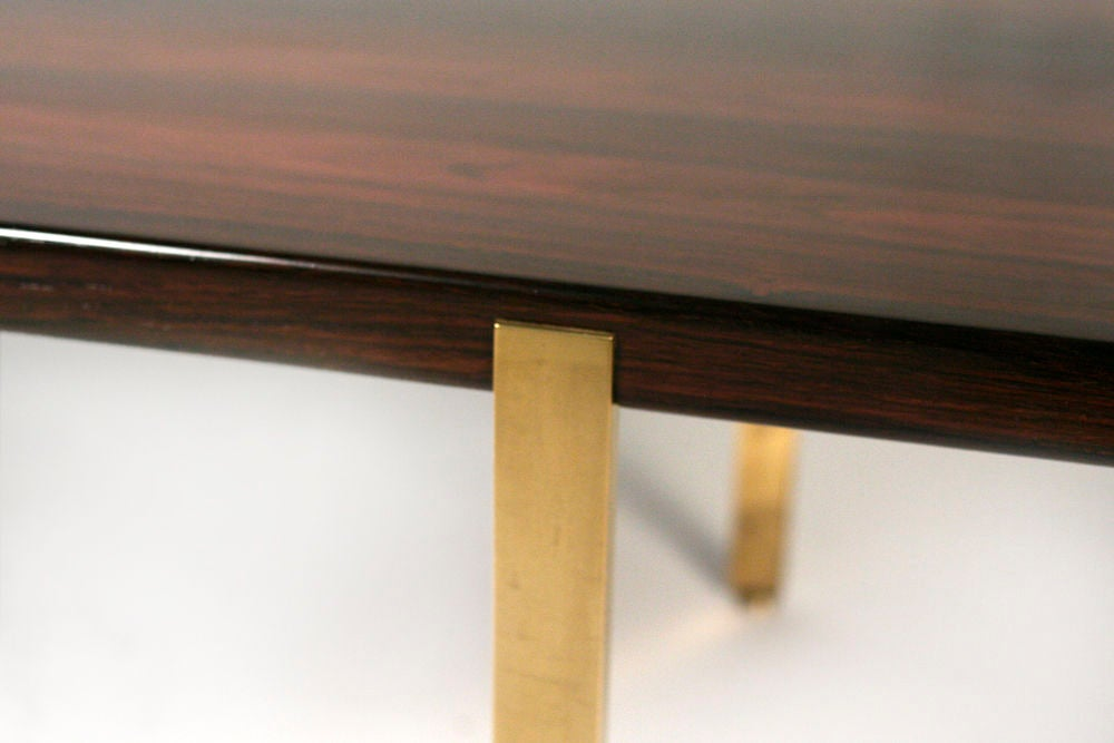 Reductive Rosewood and Brass Cocktail Table by Harvey Probber 4