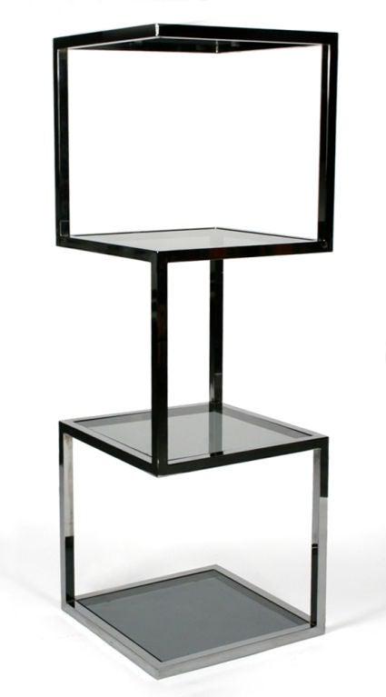 asymmetrical stacked cubes etagere after milo baughman for sale at 1stdibs. Black Bedroom Furniture Sets. Home Design Ideas