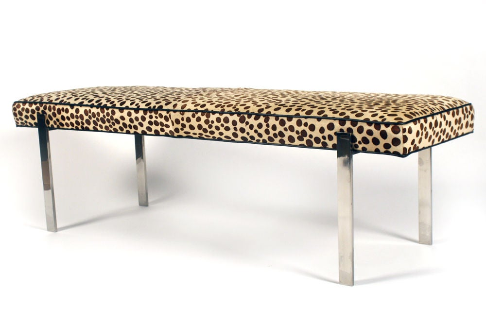 Faux leopard print and polished steel bench by pace at 1stdibs Leopard print bench