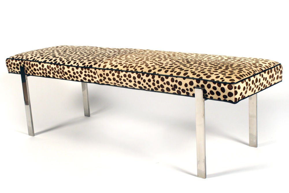 faux leopard print and polished steel bench by pace at 1stdibs