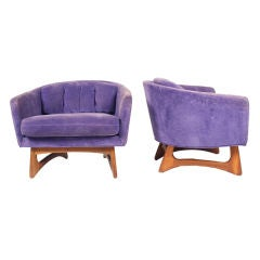 Pair of Low and Wide Barrel Chairs by Craft Associates