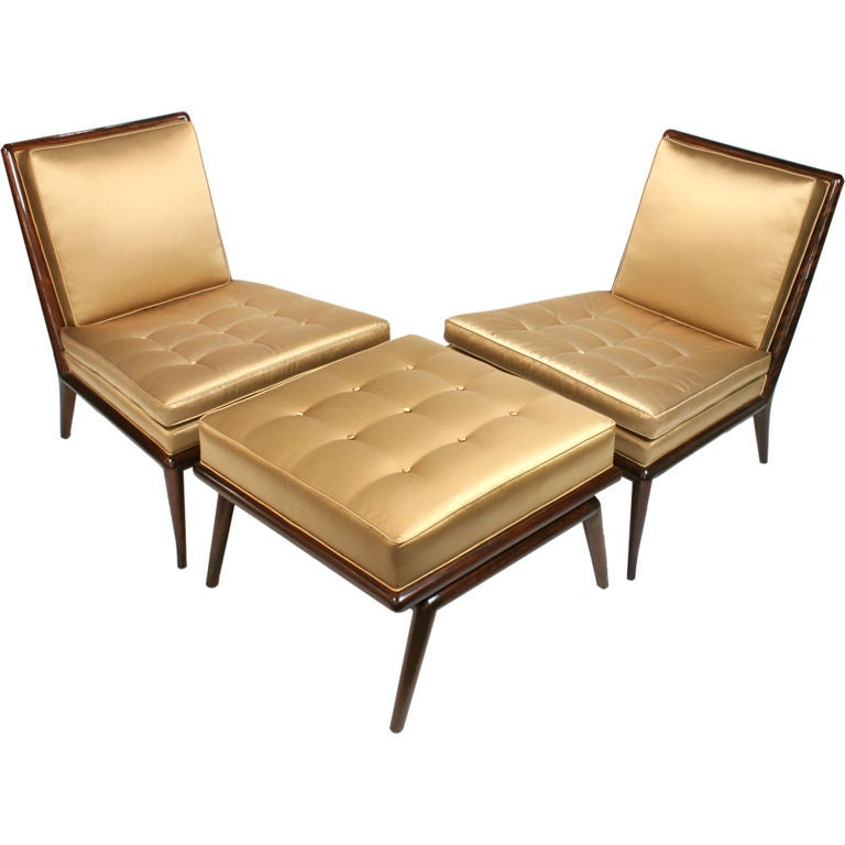 Exquisite Set of Chairs and Ottoman by T.H. Robsjohn-Gibbings