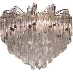 Pyramid Shaped Glass Rod Chandelier by Camer