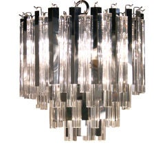 Chromed Steel Fin and Glass Rod Chandelier by Camer