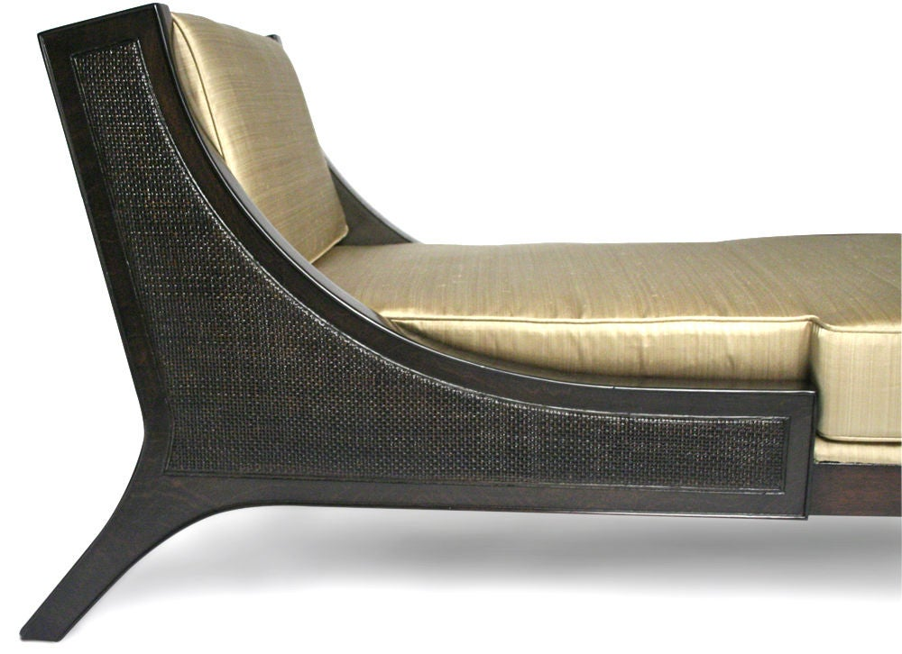 Ebony sleigh back chaise longue by tommi parzinger at 1stdibs for Chaise longue black