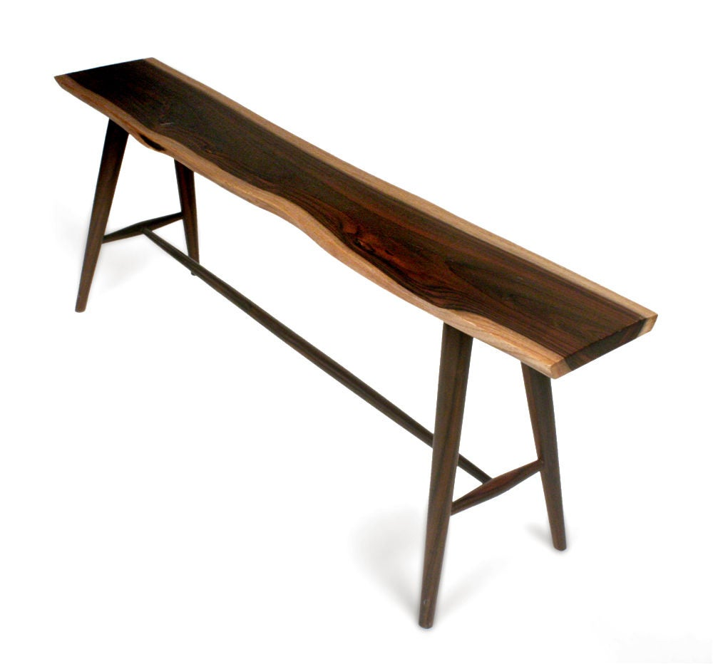 American Studio Craft Long Free Edge Wooden Bench At 1stdibs