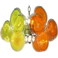 Tangy Yellow and Orange Disc Pendant Light by Vistosi