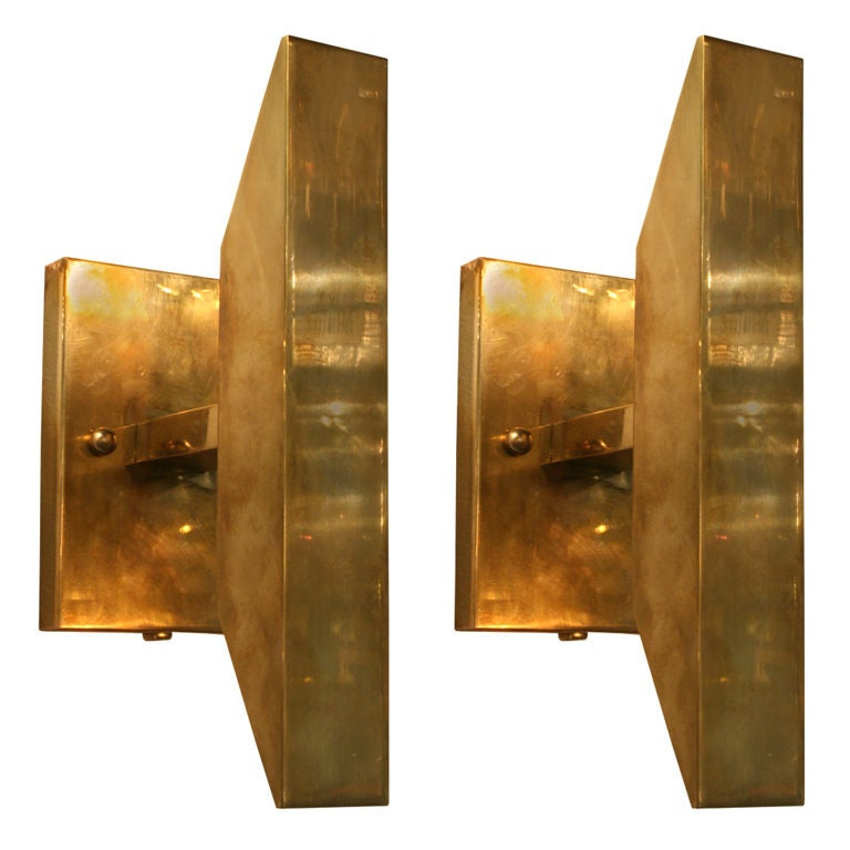Pair of Minimalist Brass Sconces by Chapman at 1stdibs