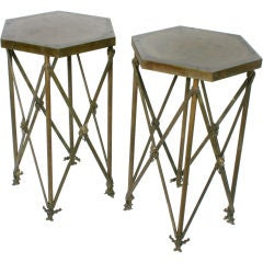 Pair of Patinated Brass Tall Hexagonal End Tables