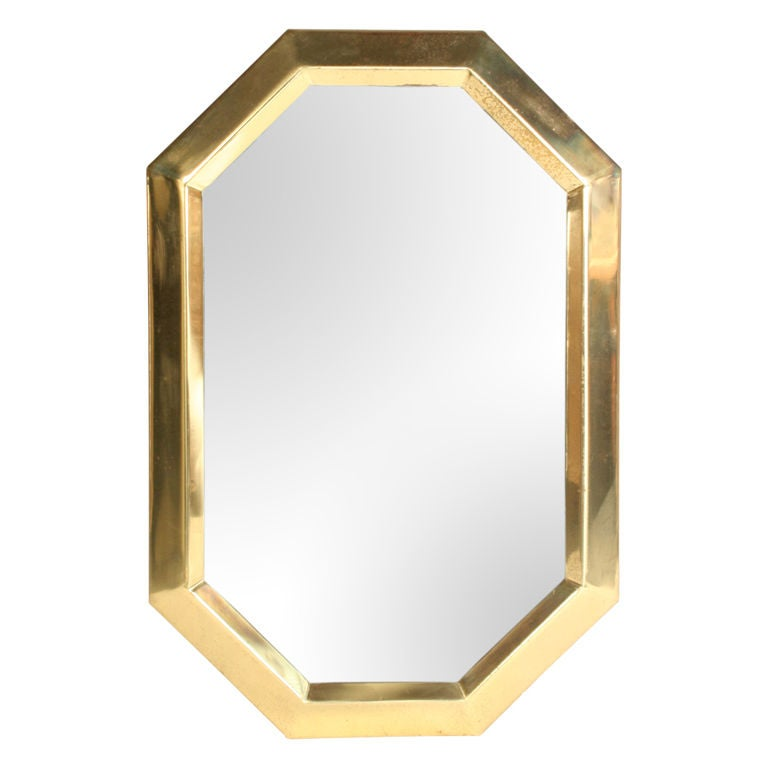 Elongated octagonal brass mirror at 1stdibs for Octagon beveled mirror