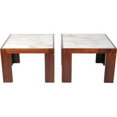 Pair of Marble Topped Rosewood Framed Tables by Tobia Scarpa