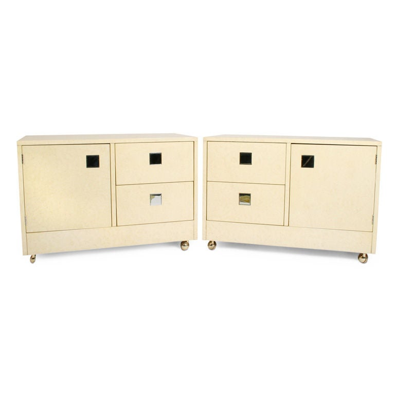 Mod Rolling 'Night Box' Bedside Tables by Directional