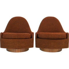 Pair of Teardrop Swivel and Tilt Slipper Chairs by Milo Baughman