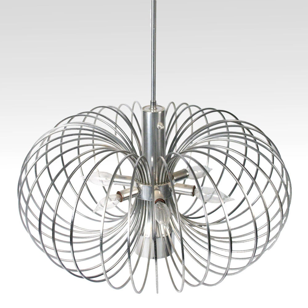 Round metal cage chandelier by gaetano sciolari for lightolier for round metal cage chandelier by gaetano sciolari for lightolier 2 arubaitofo Images
