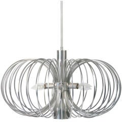 Round Metal Cage Chandelier by Gaetano Sciolari for Lightolier