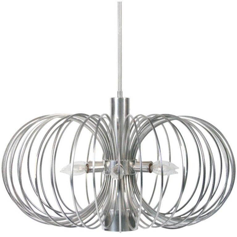 Round Metal Cage Chandelier by Gaetano Sciolari for Lightolier