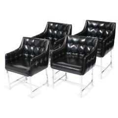 Set of Four Leatherette and Chrome Game Chairs by Milo Baughman