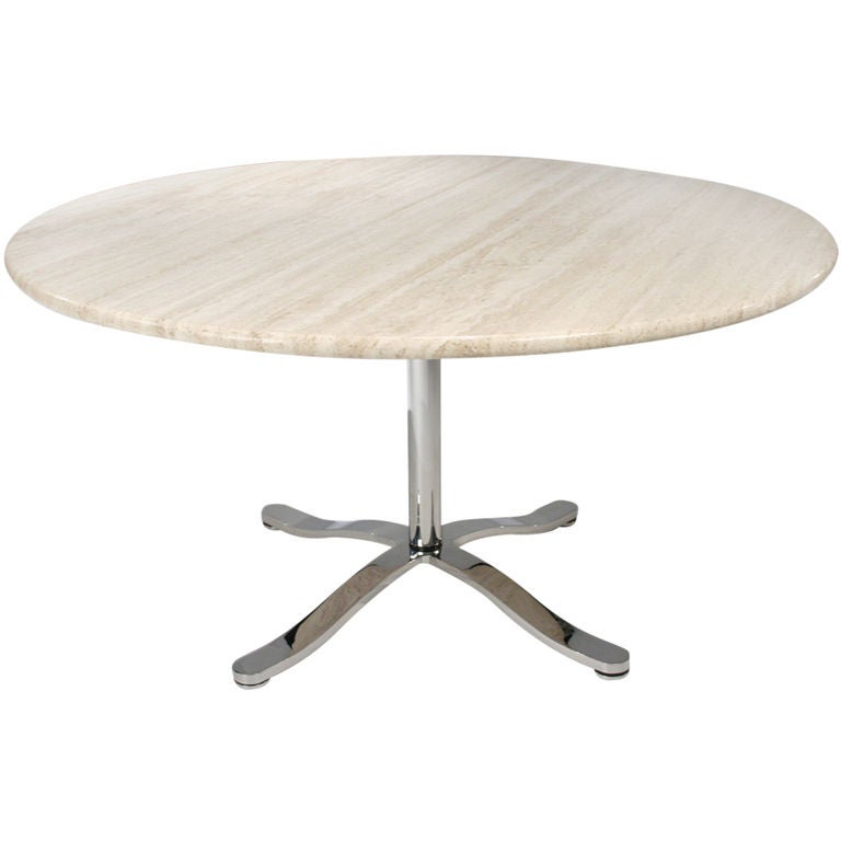 Travertine and Chromium Steel Pedestal Table by Nicos Zographos