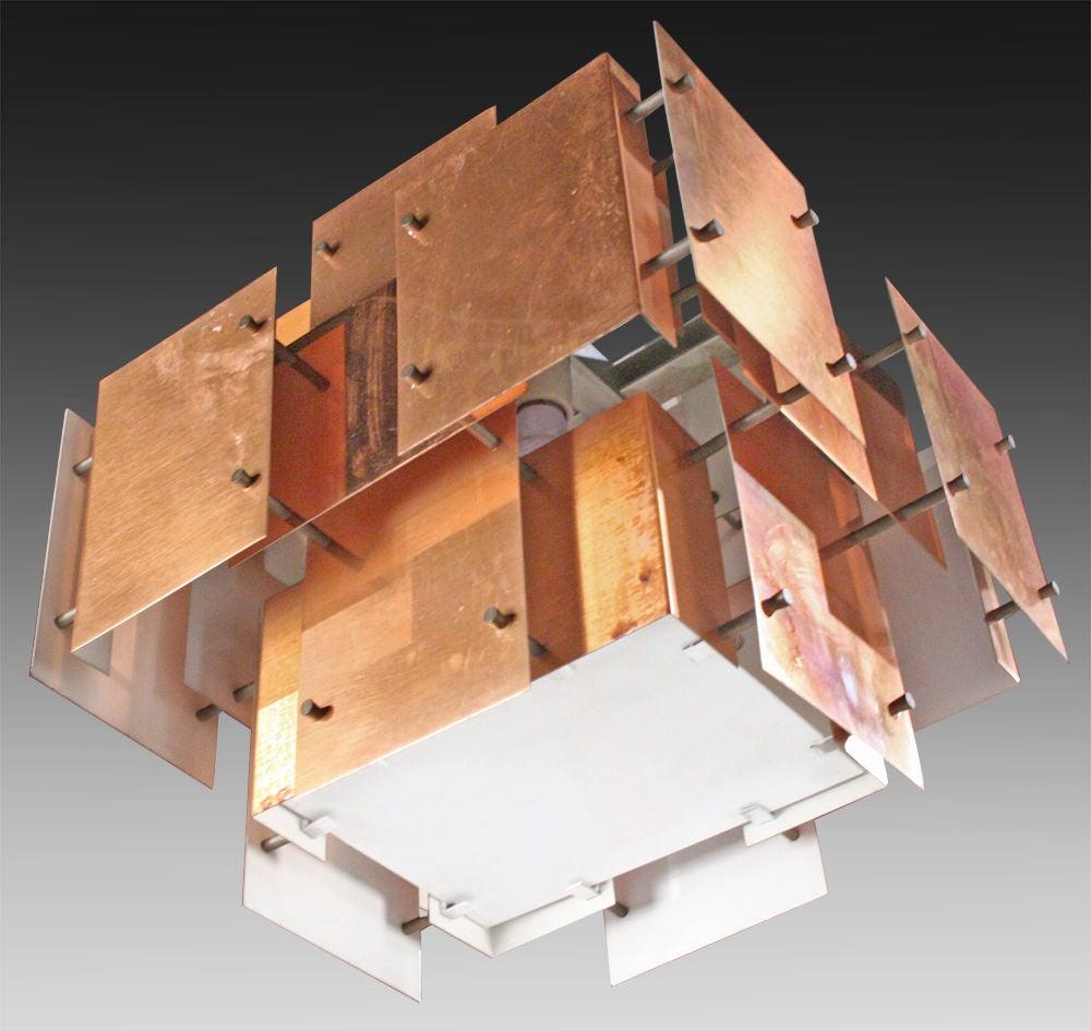 Mid-Century Modern Polished Copper Floating Panel Chandelier by Robert Sonneman For Sale