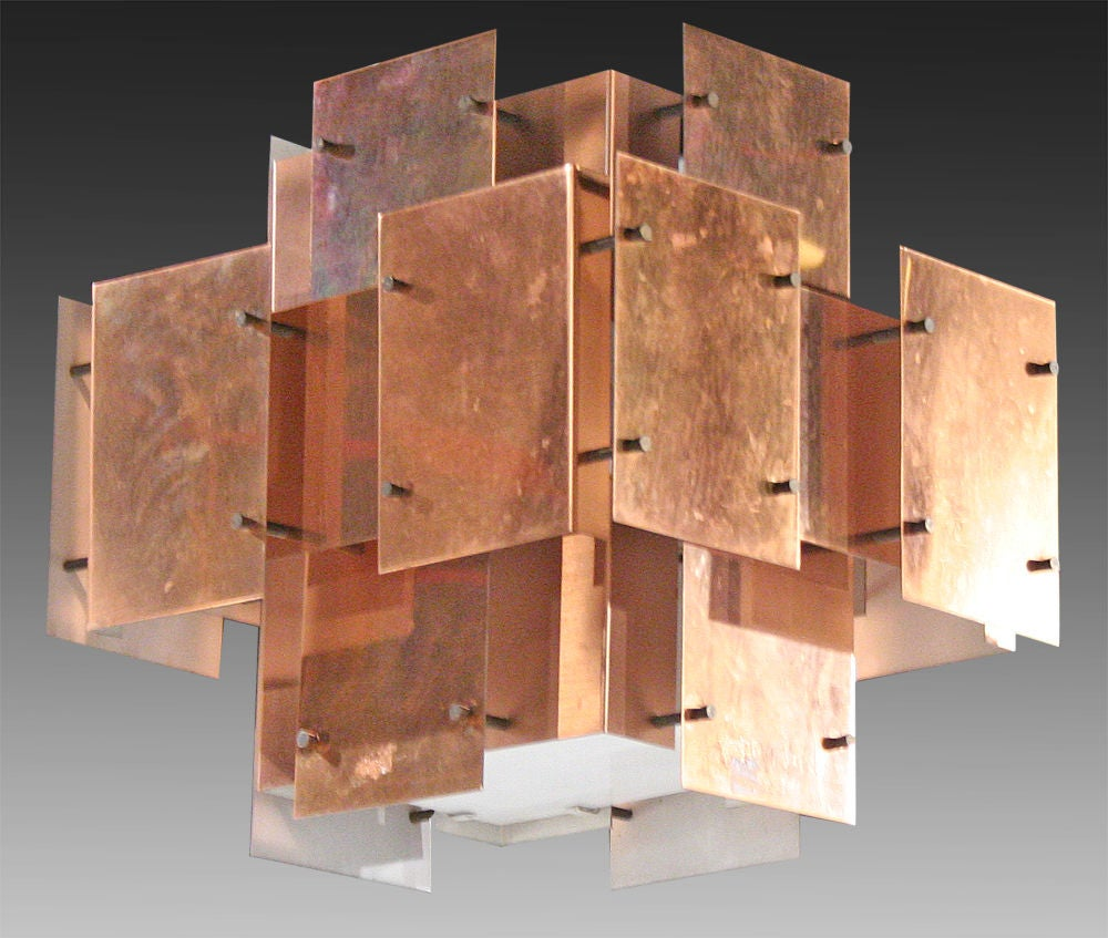 American Polished Copper Floating Panel Chandelier by Robert Sonneman For Sale