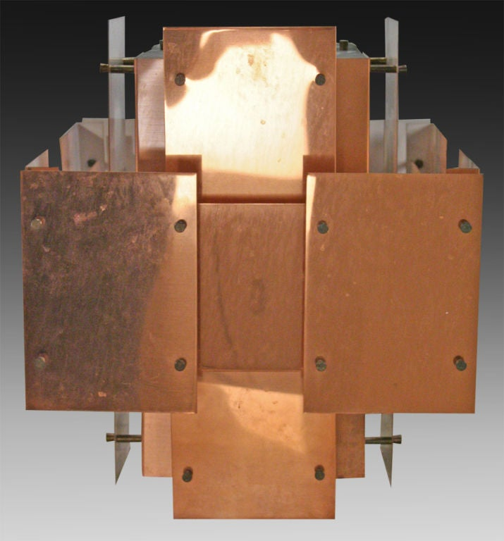 Polished Copper Floating Panel Chandelier by Robert Sonneman In Excellent Condition For Sale In New York, NY