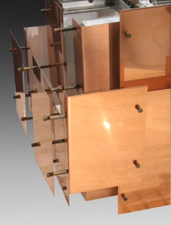 Polished Copper Floating Panel Chandelier by Robert Sonneman For Sale 1