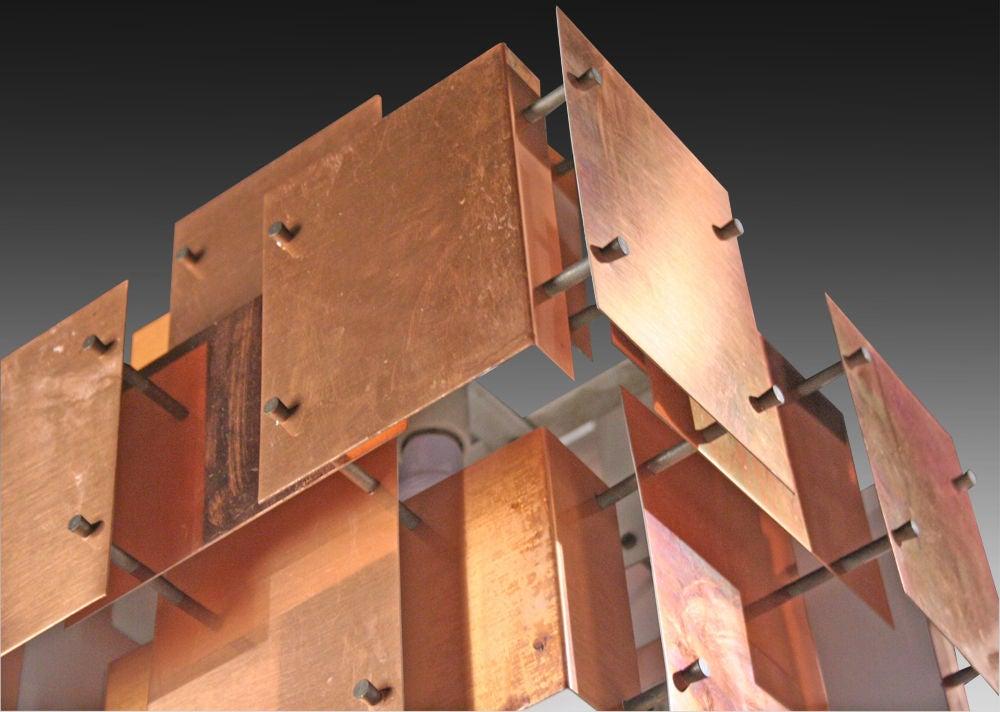 Polished Copper Floating Panel Chandelier by Robert Sonneman For Sale 2