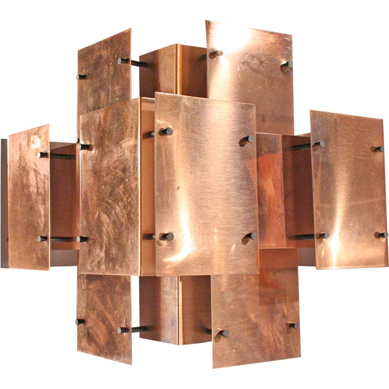 Polished copper floating panel chandelier by robert sonneman for polished copper floating panel chandelier by robert sonneman for sale aloadofball Gallery