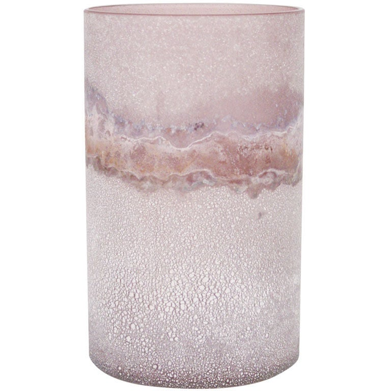 Cylindrical Scavo Glass Vase by Barbini