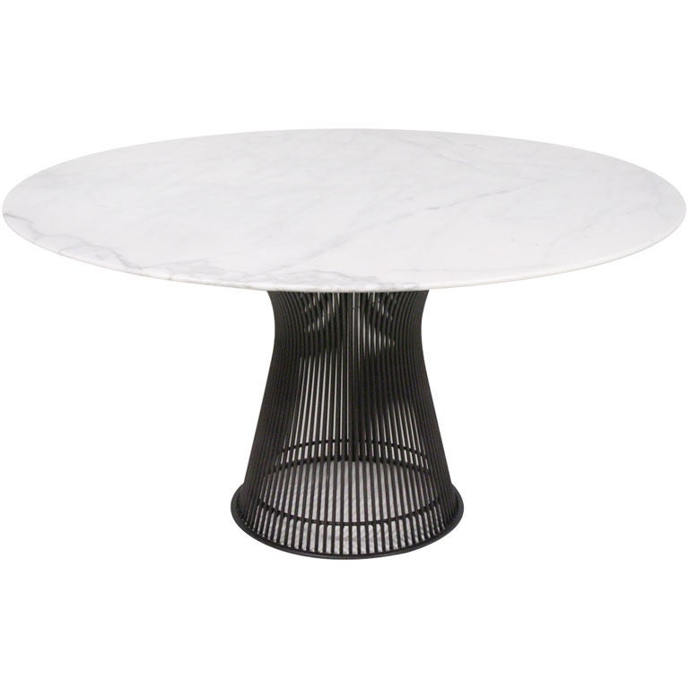 Carrera marble top bronze base dining table by warren for Table carrera