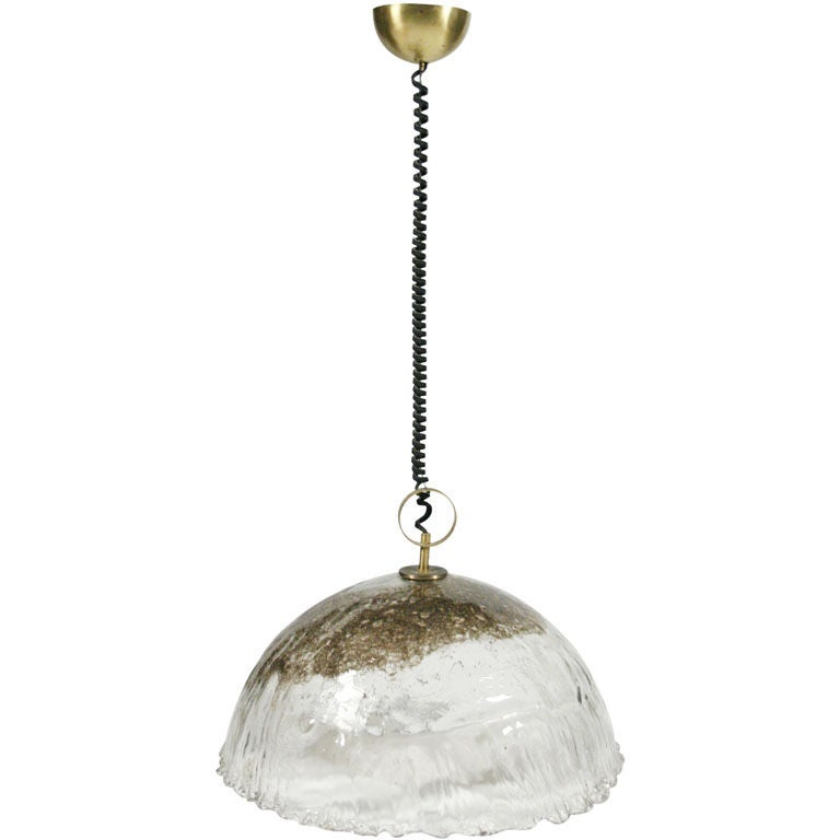 Italian Handblown Pulegoso Glass Dome Chandelier