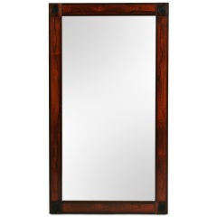 Rectangular Rosewood and Leather Mirror