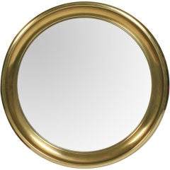 Circular Brass Framed Porthole Mirror by Mastercraft