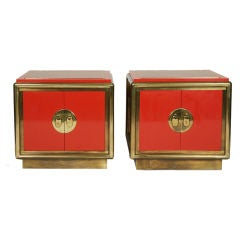 Pair of Cinnabar Lacquered End Tables by Mastercraft