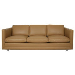 Three-Seat Leather Tuxedo Sofa on Casters by Ward Bennett for Brickel