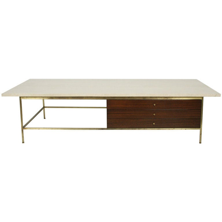 Italian Travertine Top Cocktail Table By Paul Mccobb For Calvin At 1stdibs