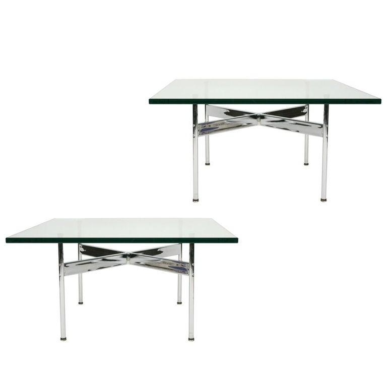 Pair of Polished Chrome Cocktail Tables by Laverne International