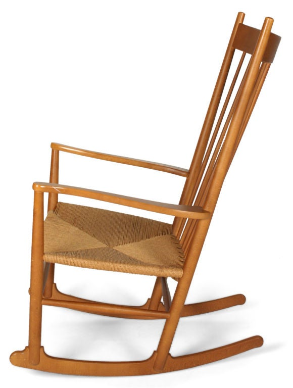 Scandinavian Modern J-16 Rocking Chair by Hans Wegner for FDB Møbler For Sale