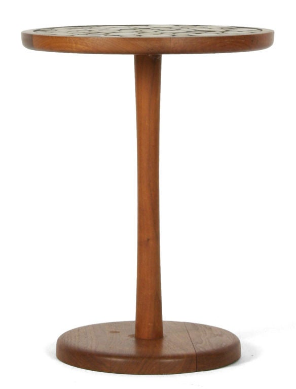 Ceramic tile top pedestal occasional table by gordon martz at 1stdibs - Ceramic pedestal table base ...