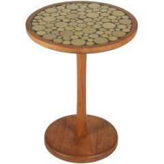 Ceramic Tile Top Pedestal Occasional Table by Gordon Martz